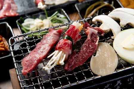 Assorted beef on grill