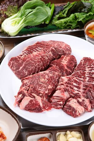 Beef spleen on plate with side dishes Stockfoto