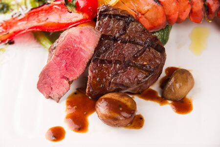 Sliced beef tenderloin steak