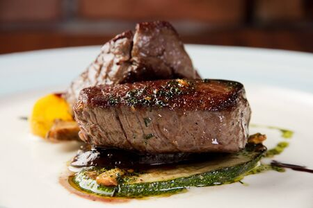 Beef tenderloin steak on plate