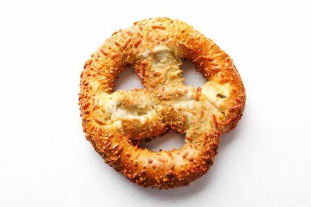 Mushy pretzel on white