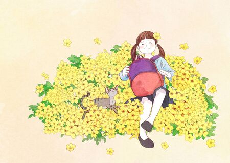 illustration of a little girl who dreams with blossoms background