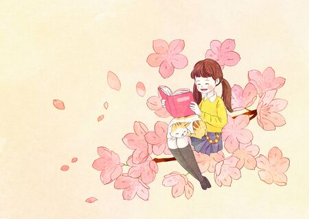 illustration of a little girl who dreams with blossoms background 스톡 콘텐츠 - 126829870
