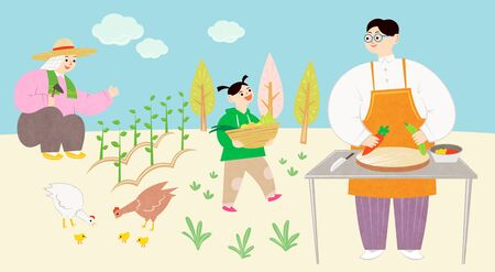 Ecology concept, Green eco city and life with family illustration Stock Photo