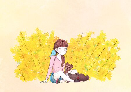 illustration of a little girl who dreams with blossoms background 스톡 콘텐츠 - 126830288