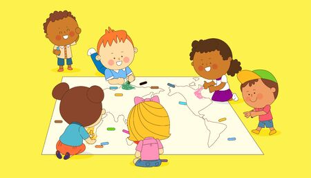 illustration of a group of happy children of different nationalities  003