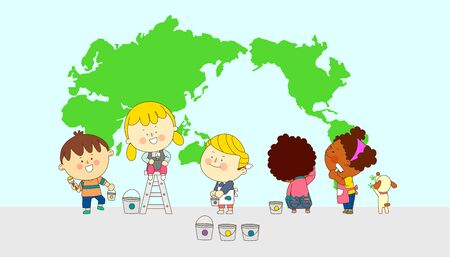 illustration of a group of happy children of different nationalities  010 Illustration