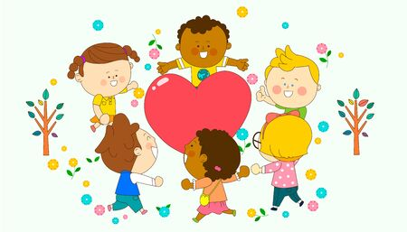 illustration of a group of happy children of different nationalities Illustration