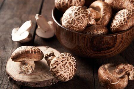 shiitake on wooden table
