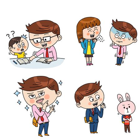Set of expressions emotions, funny cartoon style illustration 스톡 콘텐츠