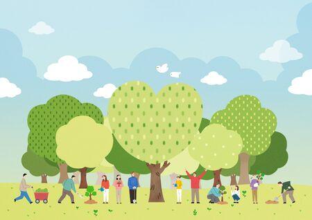 Ecology concept save the world illustration
