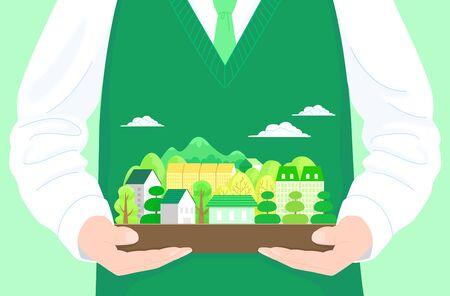 Eco house concept illustration