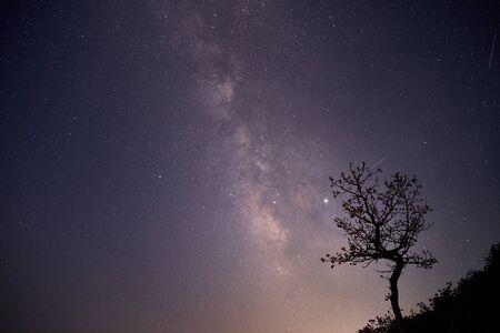 beautiful night view of the Milky way in Mt. Hwangmae, Korea