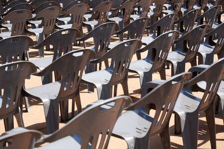 Plastic chairs at outdoor
