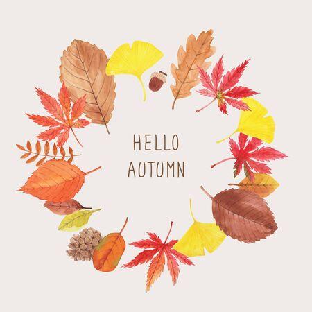 Hello Autumn, autumn leaves round frame illustration Imagens