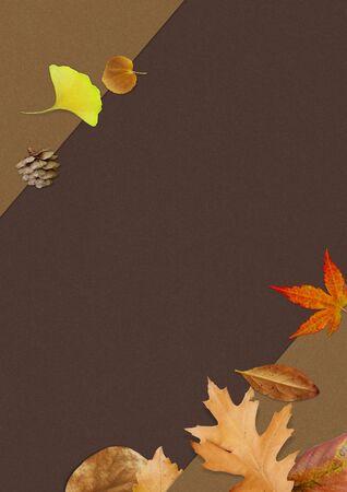 Autumn seasonal background with falling autumn leaves.