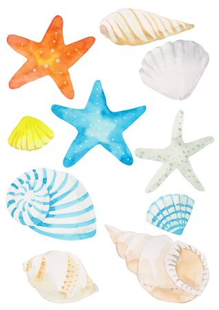 Watercolor summer objects and pattern illustration Imagens
