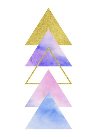 Various textured triangles. Hand drawn watercolor graphic.