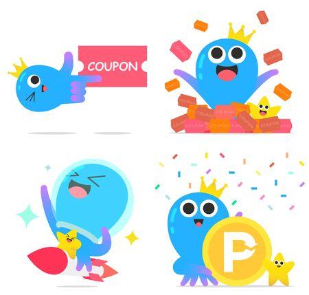 Cute octopus character cartoon style set   illustration
