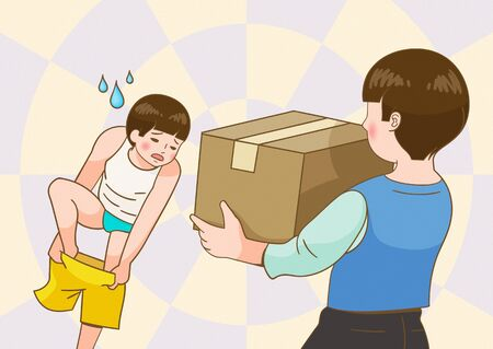 Mother with parcel walking in on son getting dressed