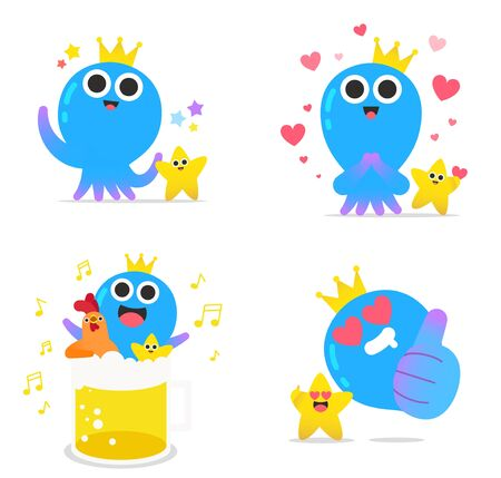 Cute octopus character cartoon style illustration Ilustrace