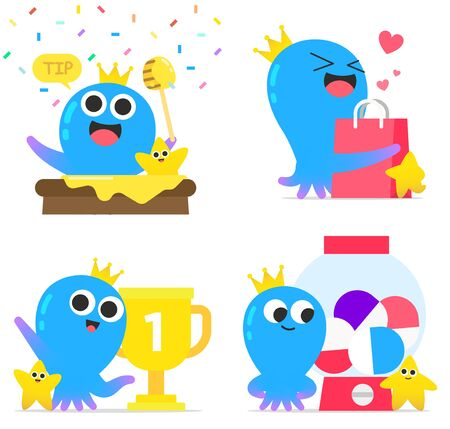 Cute octopus character cartoon style illustration