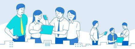 Teamwork-Konzept, Geschäftsleute, die in der Büroillustration arbeiten Vektorgrafik