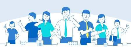 Teamwork concept, business people working in office illustration