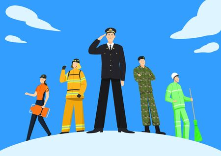 Set of variety occupation profession people concept illustration