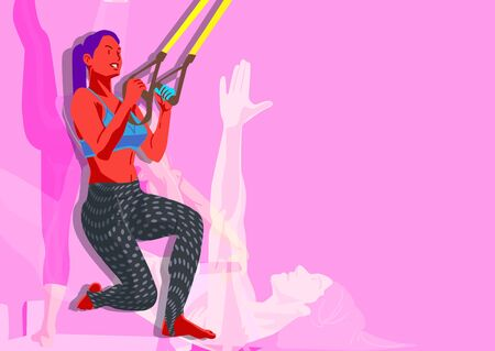 Woman fitness workout in colorful background illustration