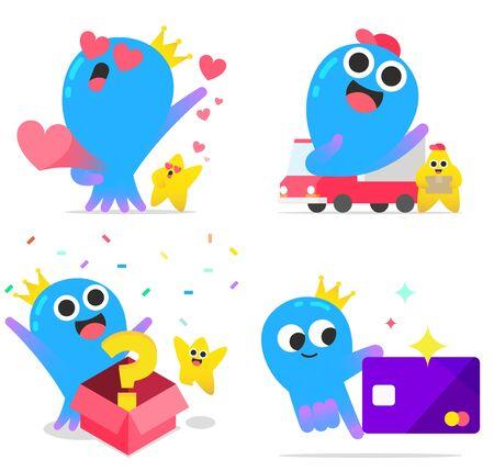 Cute octopus shopping character cartoon style set illustration