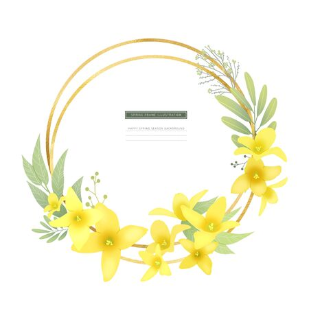 Beautiful spring time with colorful flower illustration Stock Photo