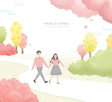 Beautiful spring time with colorful flower illustration 스톡 콘텐츠