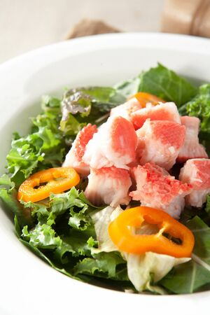 crab salad on white plate