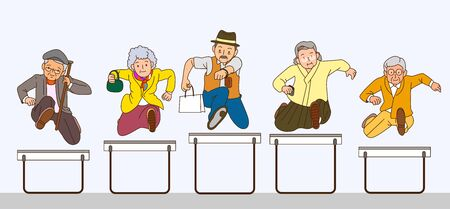 Concept of senior citizen jumping together