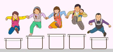 Concept of happy family jumping together Standard-Bild - 130535080