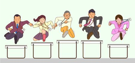 Concept of successful office workers jumping together