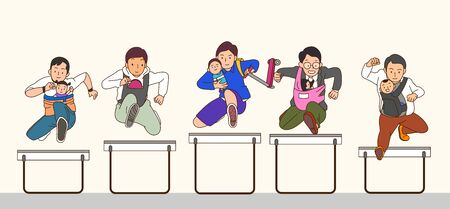 Concept group of happy daddy bring baby jumping together
