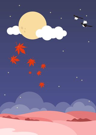 Landscape vector illustration. Autumn field, maple leaves and full moon. Çizim