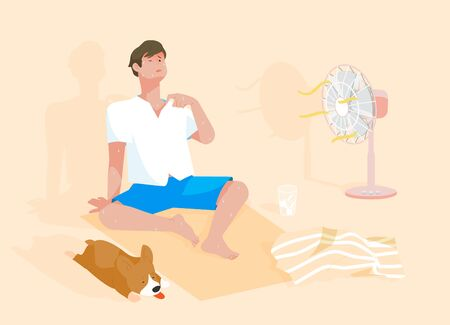 Mann mit Hund leidet an einem heißen Sommertag unter einer Hitzewelle.