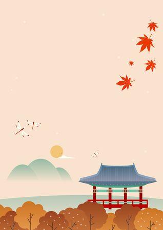 Korean traditional background. Mid autumn vector illustration.