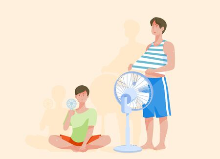 two man Suffering a heat wave in a hot summer day 矢量图像