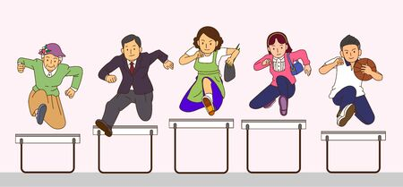 Concept group of happy family jumping together