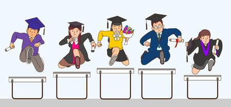 Concept group of successful graduate student jumping together 向量圖像