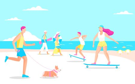 Summer vacation concept flat design illustration