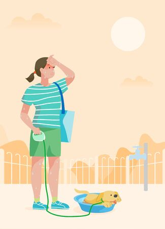 woman and dog are Suffering a heat wave in a hot summer day.