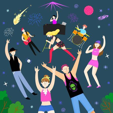 Concept of summer outdoor activities, summer festivals vector illustration