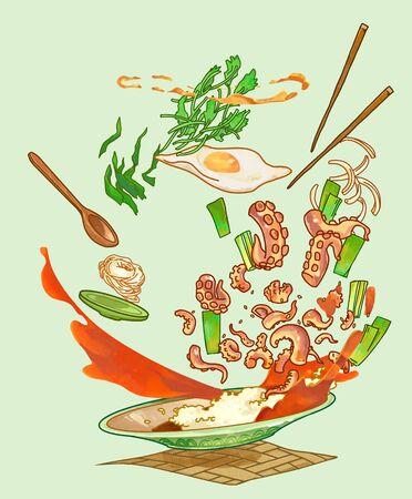 Korean summer food concept illustration Stockfoto