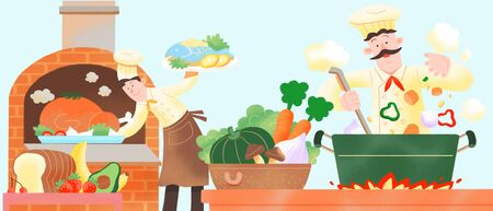 Concept of chef cooking flat vector illustration