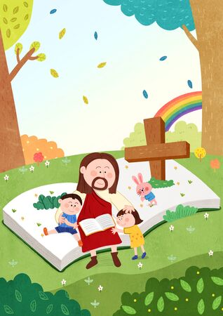 Concept of bible school or camp vector illustration